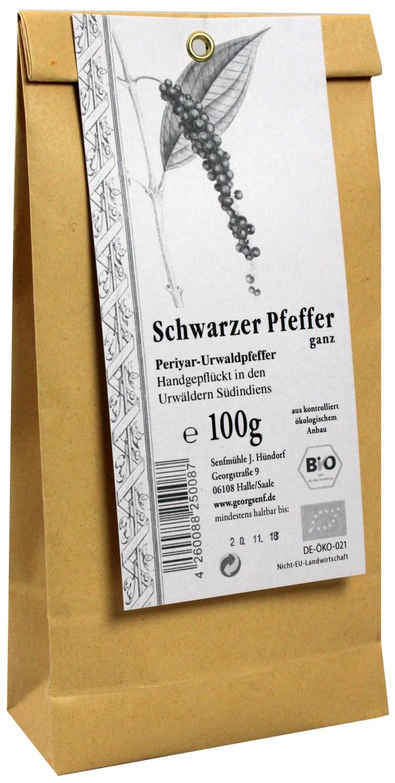 Schwarzer Periyar Urwaldpfeffer 100g - handgepflückt aus biologischem Anbau - Senfmühle Hündorf, Halle (Saale)