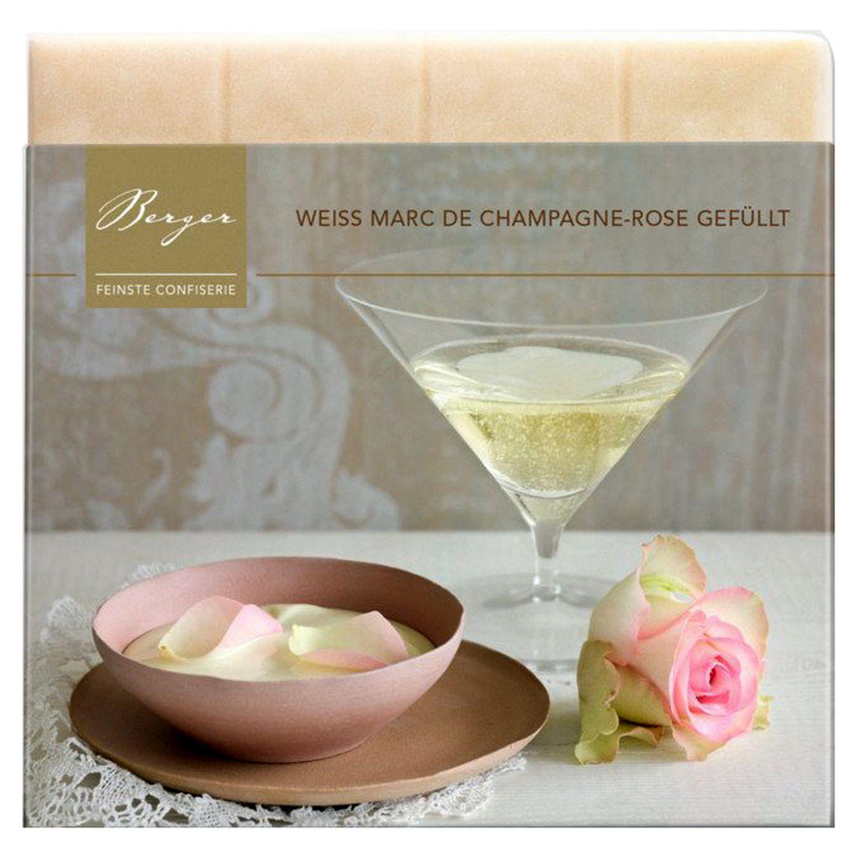 Marc de Champagne Rose gefüllt - Weiße Schokolade 100g - Confiserie Berger