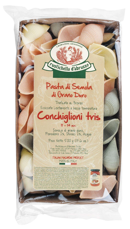 Conchiglioni tris - Riesenmuschelnudeln dreifarbig 500g - Rustichella d Abruzzo