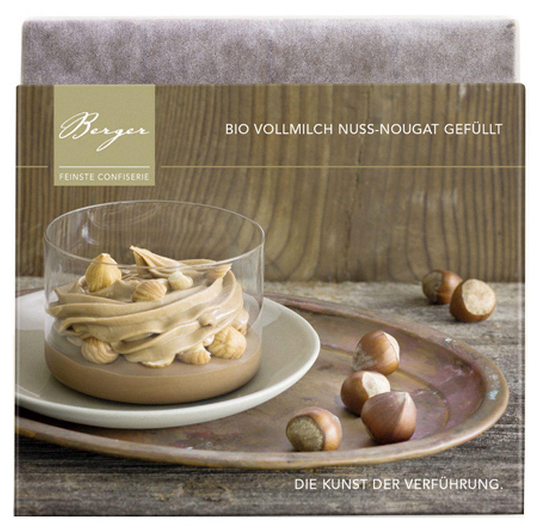 Nuss Nougat Schokoladentafel - Vollmilchschokolade gefüllt 100g - Confiserie Berger