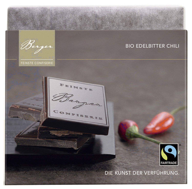 Edelbitter Chili Schokoladentafel - Bitterschokolade 90g - Confiserie Berger