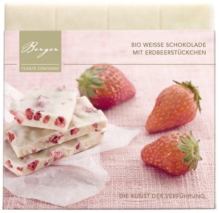 Schokolade mit Erdbeerstückchen - Weiße Schokolade 90g - Confiserie Berger