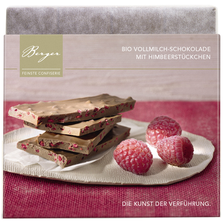 Himbeerstückchen gefüllt - Vollmilchschokolade 90g - Confiserie Berger