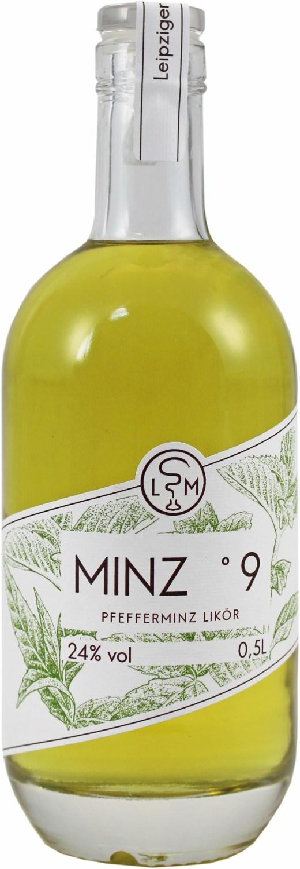 Minz Nr. 9  Pfefferminzlikör - 24% Vol.  0,50 l - Leipziger Spirituosen Manufaktur