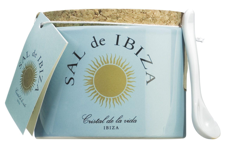 Fleur de Sel - im Steintopf mit Dosierlöffelchen 150g - Sal de Ibiza