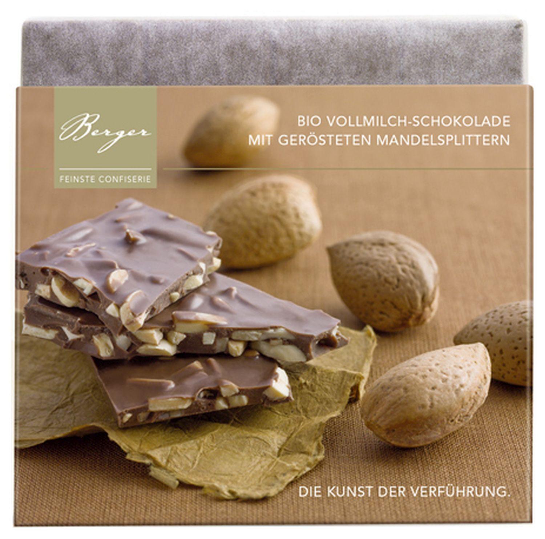 Schokolade mit ger. Mandelspl. - Vollmilchschokolade 90g - Confiserie Berger